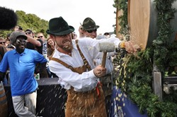 TAP IT GOOD :  Brewmaster Matt Brynildson tapped the ceremonial barrel in full Bavarian mode during last year's Oaktoberfest. - PHOTOS COURTESY OF FIRESTONE WALKER BREWING