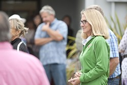 A LESS-THAN-FOND FAREWELL:  Long-time Morro Bay City Manager Andrea Lueker (right), pictured here during the first in a series of contentious closed session meetings on her employment, finalized a separation agreement with the city on Dec. 12. - FILE PHOTO BY STEVE E. MILLER