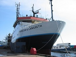 CHECKERED PAST? :  If all goes according to schedule, the National Science Foundation-owned research vessel, the R/V Marcus Langseth, will conduct controversial seismic surveys around Diablo Canyon nuclear power plant, despite concerns over whether it's the best boat for the job. - PHOTO COURTESY OF THE NATIONAL SCIENCE FOUNDATION