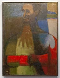 MAN WITH RED GLOVES :  Elaine Badgley Arnoux painted this portrait of her mentor, Channing Peake, in 1959. - PHOTOS BY STEVE E. MILLER