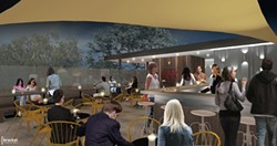 OFF LIMITS:  A previously planned rooftop dining area has been scrapped from plans for the new SLO Brew due to cost overruns from the - building's retrofit. - RENDERING COURTESY OF SLO BREW AND BRACKET ARCHITECTURE OFFICE
