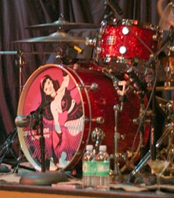 SUPERHERO! :  Candye Kane's drum kit proclaims her a superhero. Her super power is the power to invoke pity. - PHOTO BY GLEN STARKEY