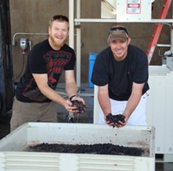 THEY'LL OVERTHROW THE EARTH:  At Baker & Brain in Edna Valley, every delicious wine is handcrafted by (left to right) Matt Brain and Josh Baker. - PHOTO COURTESY OF BAKER & BRAIN