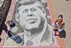 HAIL TO THE CHIEF:  Featured artist Cynthia Polk (pictured) has been participating in San Luis Obispo's street painting festival since it began, and, last year, painted quite the presidential portrait. - PHOTO BY JOSEF KASPEROVICH