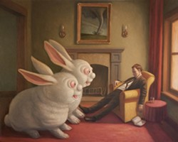 MO BUNNY, MO PROBLEMS:  Mark Bryan's work often showcases a surreal sense of humor, as seen in the painting 'Too Much Bunny.' - IMAGE BY MARK BRYAN