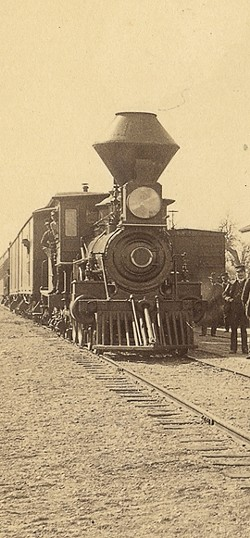 LO! THE CAR OF JUGGERNAUT! :  A train at the Paso Robles depot in the late 19th century. - PHOTO COURTESY OF THE SLO COUNTY HISTORICAL SOCIETY