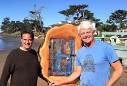 CLIMATE FEST:  Baywood residents Paul Irving (left) and Ted Emrick (right) stand next to one of Emrick's environmentally inspired sculptures. - PHOTO BY PETER JOHNSON