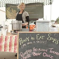 THE SOUP MAVEN :  Stephanie Burchiel serves savory soup from the food court at Farmers' Market in Morro Bay. - PHOTO BY STEVE E. MILLER