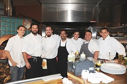 EMBER A-TEAM:  (l-r) The Ember team includes Brian Claiborne, executive chef Collins, sous chef David Marks, Adam Aguillon, pastry chef Matt Molacek, Treaver Lynch, and David Kullman. - PHOTO BY DAN HARDESTY