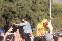 PUMP THE CROWD:  LuckIam and Lana Shea, here getting the crowd going at last year's fest, return for the 3rd Annual RocknFlow Underground Music Festival on April 26 at Santa Rosa Park. - PHOTO COURTESY OF THE ROCKNFLOW UNDERGROUND MUSIC FESTIVAL