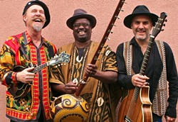 AFROMERICANA!:  (left to right) Joe Craven, Mamadou Sidibe, and Walter Strauss are Mamajowali, a new trio that mashes up African and Americana music, - playing Feb. 20 at Benedict's Church in Los Osos. - PHOTO COURTESY OF MAMAJOWALI