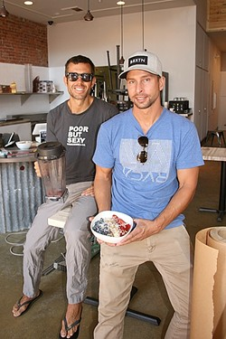 BOWL BROS:  Bowl'd owners James Whitaker (left) and Chris Tarcon aim to bring tasty, health-conscious açaí bowls, smoothies, and kombucha to downtown. - PHOTO BY HAYLEY THOMAS