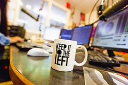 THE LEFT SIDE OF THE DIAL:  In the radio world, the phrase represents the thought that the better radio stations—notably college and public radio—are found in the lower half, or the left side, of radio frequencies. That prompted KCPR to adopt the phase as a station motto. - PHOTO BY KAORI FUNAHASHI