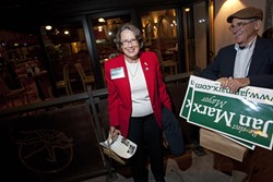 IN A HURRY :  We missed basically all of victorious San Luis Obispo Mayor Jan Marx's election night party, but she nonetheless spared a minute to shake hands and pose for a glamour shot. - PHOTO BY STEVE E. MILLER
