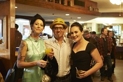 HIPSTER CITY :  My Pal Mick Souza finds himself sandwiched between (I hope I have these names right, ladies) Jill (left) and Deidra. - PHOTOS BY STEVE E. MILLER
