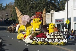 SWEET SHENANIGANS! :  For the second consecutive year, Cal Poly SLO and Cal Poly Pomona's jointly constructed Rose Parade float won the Lathrop K. Leishman Trophy for the most beautiful non-commercial entry. - PHOTO BY TOM ZASADZINSKI; COURTESY OF CAL POLY SLO & POMONA