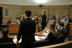 I OBJECT! :  A student lawyer (left) from Mission Prep objects to a question by a student lawyer from North County Christian School (right). - PHOTOS BY GLEN STARKEY