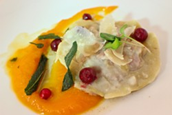 SECOND COURSE:  Robin's Restaurant in Cambria is presenting four courses for $40. One option for the second course is a butternut squash, chestnut, and cranberry - raviolo with brown butter, pink peppercorns, and sage. - PHOTO COURTESY OF ROBIN'S RESTAURANT