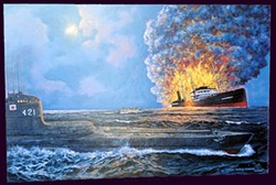 """""""Japanese sub sinks Union Oil tanker Montebello,"""" by George Healey Cooper, a Los Osos painter. - IMAGE COURTESY OF GEORGE HEALEY COOPER"""