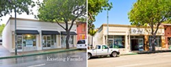 BEFORE AND AFTER:  Shortly after relocating Bluebird Salon on Marsh Street in downtown San Luis Obispo, owner Ariel Shannon began work to affix reclaimed wood to the façade. - PHOTO COURTESY BLUEBIRD SALON/BY HENRY BRUINGTON