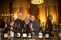 THEY CALL IT WOPN:  The somms who handle all of the event's tastings take a moment to sample the pinot noirs they've opened. From left to right: Toby Rowland-Jones, Sommelier; Francoise Gouges, a guest associated with a Burgundy producer; Diane De Luca, Sommelier; and Dan Fredman, Sommelier and WOPN Sommelier Team Captain. - PHOTO COURTESY OF WOPN