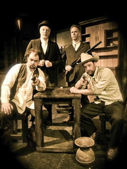 NO SMILES HERE:  Jake McGuire directs (from left to right) Matthew J. Hanson as Billy the Kid, Tom Ammon as Ash Upson, Dave Linfield as Jim Miller, and Brian Williams (not that Brian Williams!) as Pat Garrett, in Lee Blessing's 'The Authentic Life of Billy the Kid.' - PHOTO BY JAKE MCGUIRE