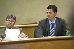 WHICH ONE WILL PREVAIL? :  As of press time, the jury was still out in the case against San Luis Obispo firefighter John Ryan Mason, who stands accused of brutally beating a bar patron in June 2011. - PHOTOS BY STEVE E. MILLER