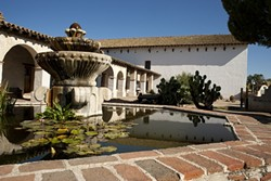 QUAFF FOR THE QUAKE :  Santa Miguel vintners and their neighbors are raising funds to restore Mission San Miguel, which still needs some final retrofitting to repair damage from the 2003 San Simeon quake. - PHOTO BY STEVE E. MILLERE