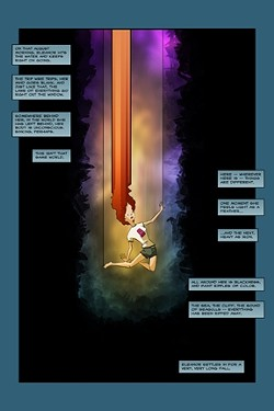 THE GIRL WHO NEVER STOPPED FALLING :  Pictured (above) is a particularly epic panel from Jason Gurley's Eleanor. Gurley—known by day as creative director at Level Studios—has been developing the story of a girl who never stopped falling for over a decade, but began rewriting it as a graphic novel in January 2011. Below, Gurley shows his process for creating a single panel. - ARTWORK BY JASON GURLEY