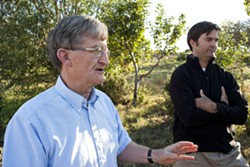 FOOD NETWORK :  Cal Poly Organic Farm's retired faculty adviser John Phillips (left) and sustainable agriculture proponent Terry Hooker (right) miss the connections between the community and the farmers created by the farm's vegetable-subscription program. - PHOTO BY STEVE E. MILLER
