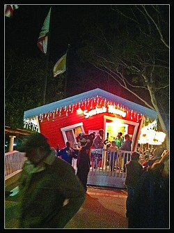 SANTA! :  A short line trails out of Santa's House in the SLO Mission Plaza. It remains up until Christmas, so get down there and tell Santa how good you've been! - PHOTOS BY GLEN STARKEY