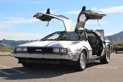 1.21 JIGGAWATTS!:  It's a little surreal to see McFly's fly ride out and about on the Central Coast, but that's part of the fun of Doc Brown's Time Machine Rental. - PHOTO COURTESY OF NICOLETTE MUÑIOZ AND JACK BATES