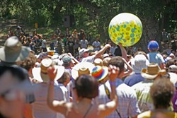 HAVING A BALL :  The crowd went nuts for Brazilian-style samba band SambaDá.
