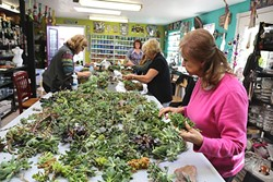 A WEALTH OF SUCCULENTS:  Joan Martin Fee shows Diane Toman, Cindi Karlen, Sandy Ashby, and Lana Hollady how to make succulent wreaths at the Design Studio in Los Osos. - PHOTO BY DYLAN HONEA-BAUMANN