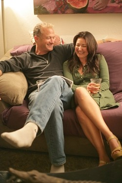 COZY AND COMFY :  Ted Thayer and Aurajoy Van Dyck crack themselves up. - PHOTO BY GLEN STARKEY