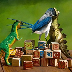 LIKE TOY SOLDIERS:  Just because birds are descended from dinosaurs doesn't mean they'd get along. Talbott's piece Building Blocks 2 is part of a series focusing on toys in unusual situations. - IMAGE COURTESEY OF JOSH TALBOTT