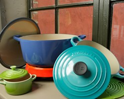 COLORS OF THE SEASON :  Le Creuset cookware, available at Fordens in downtown San Luis Obispo, makes for a stylish and practical gift for the kitchen wizard in your life. And you may get to reap the culinary benefits of just such a present. - PHOTO BY STEVE E. MILLER