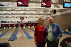 TWO FOR PRICE CANYON:  Pismo Beach City Council candidates Marcia Guthrie (left) and Sheila Blake (right) gathered on the night of Nov. 4 to bowl a few frames and track the election returns. - PHOTO BY RHYS HEYDEN