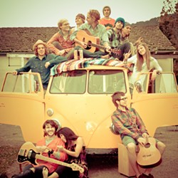 THE SUN TRIBE :  Chase McBride (center atop bus) and company will play a double album release party on June 5 at Downtown Brew. - PHOTO COURTESY OF CHASE MCBRIDE