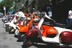 ALL THE PRETTY SCOOTERS:  Nearly 70 scooters appeared in this year's Rides of March, SLO County's annual scooter rally put on by local scooter club PushStart MSC. - PHOTO BY GLEN STARKEY