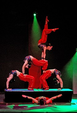 BENDY BODIES:  China's Peking Acrobats—a troupe of contortionists, tumblers, jugglers, and more—return to the Clark Center to defy gravity and common sense on Jan. 25. - PHOTO COURTESY OF THE CLARK CENTER