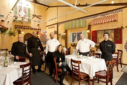 SAY IT WITH SPAGHETTI :  Mama's Meatball staff (l-r) Patrick Parks (server), Ilario De Palo (maitre d'/kitchen Manager), Nicola Allegretta (executive chef and owner), Jackeline Allegretta (catering/owner), Luca Allegretta (sous chef), and Brian Hodge (server) serve up dishes like capricciosa pizza with mozzarella, mushrooms, artichoke hearts, and ham and salmone allo scoglio with grilled salmon, clams, mussels, calamari, shrimp, and fresh tomatoes in white wine sauce. - PHOTOS BY STEVE E. MILLER