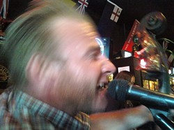 RIP ROARING COWPUNK :  One of my favorite new bands, The Sons of Katie Elder, play a three-band show at Camozzi's in A-Town on April 23. - CELLPHONE PHOTO BY GLEN STARKEY