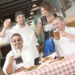 PROST! :  (Clockwise) Nick Stieb, Kaylyn Gomez, Shawn Swink, and Adam Aguillon look forward to celebrating Oktoberfest at Hoagie's. - PHOTO BY STEVE E. MILLER
