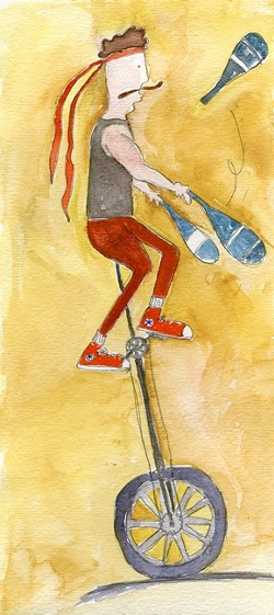 AMAZING FEATS :  Mark Wilder sparks smiles and laughs on one wheel. - ILLUSTRATION BY LAUREN COOK