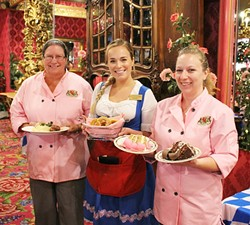 GUTTENTAG:  From left, Madonna Inn kitchen manager Jacqui Hanover, server Morgan Enbitt, and assistant kitchen manager Seren Bardwell are ready to serve up German eats and Firestone beer at Madonna Inn's Oktoberfest this Oct. 2 and 3 at the Expo Center. - PHOTO BY AUDREY PEARCE; COURTESY OF THE MADONNA INN