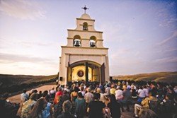 BELLS ON A HILL :  One of Festival Mozaic's many venues includes Shandon's picturesque Chapel Hill, just east of Paso Robles. The private, Mission-style building was constructed out of fragments from Hearst Castle and, on July 19, will feature the baroque music of Bach, Corelli, and Geminiani. - PHOTO BY BRIAN P. LAWLER
