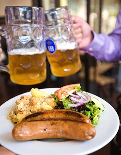 HEARTY:  Imported German beer meets juicy brats at Kreuzberg's Oktober Fest this Oct. 17 at the downtown café. - PHOTO BY KAORI FUNAHASHI