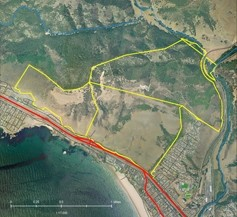 PRESERVATION DESTINATION:  The parcels making up the proposed Pismo Preserve are outlined in yellow and Highway 101 is in red. - MAP COURTESY OF THE LAND CONSERVANCY OF SLO COUNTY