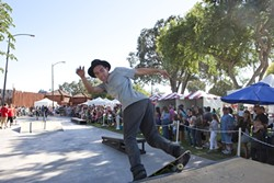 HAVE A LITTLE FAITH IN ME :  Members of the Embassador skateboarding team flaunt their boarding prowess and bring some white-knuckle moments to the first ever Cantinas Music Festival. They are a group of skateboarders who are as passionate about landing new believers as they are about landing tricks.